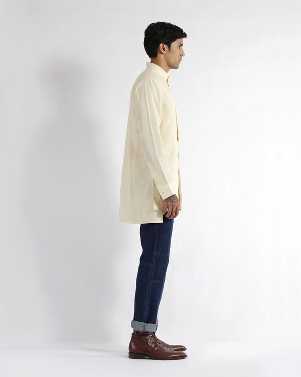 Off white linen embroidered tunic shirt 3