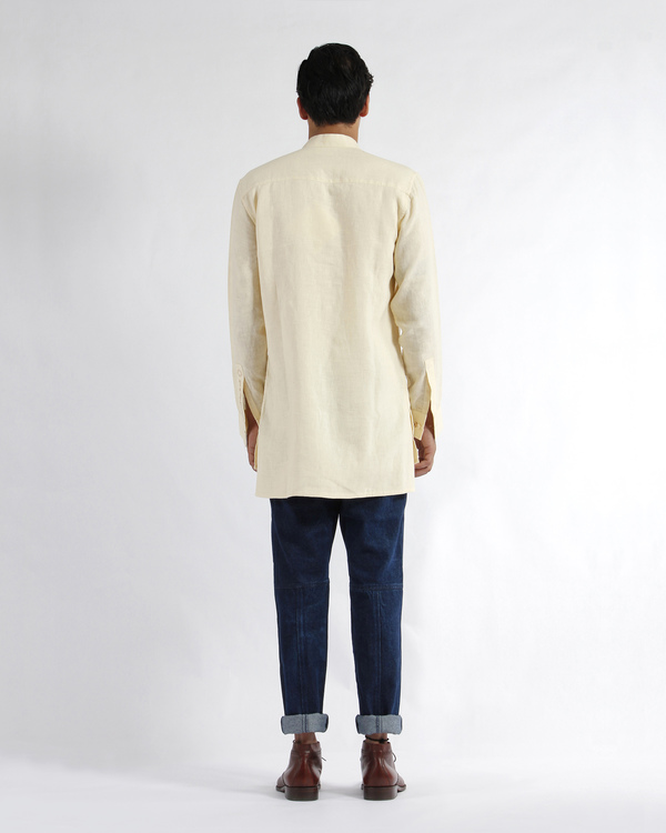 Off white linen embroidered tunic shirt 2