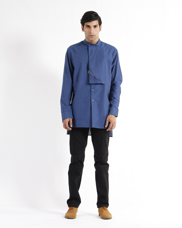 Indigo handwoven chevron cotton tunic shirt 3