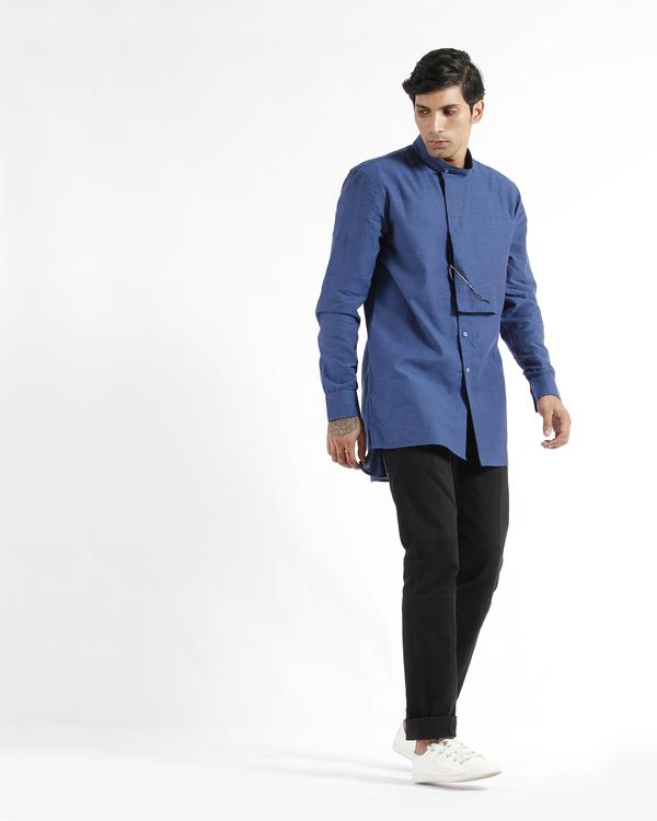 Indigo handwoven chevron cotton tunic shirt 2