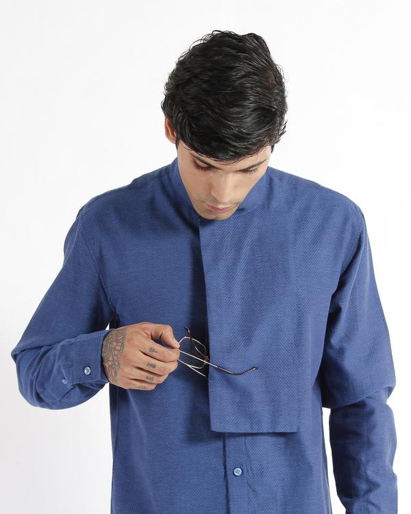 Indigo handwoven chevron cotton tunic shirt 1
