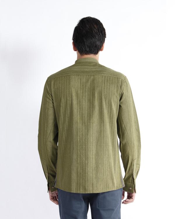Olive handloom chevron cotton dress shirt 2