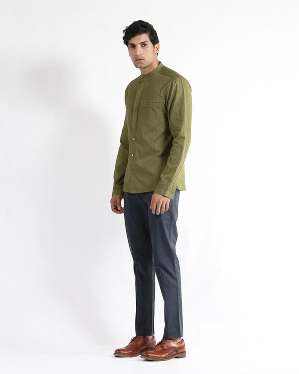 Olive handloom chevron cotton dress shirt 1