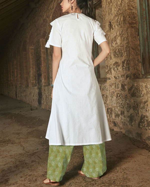 Set of White kurta with Green palazzo 1