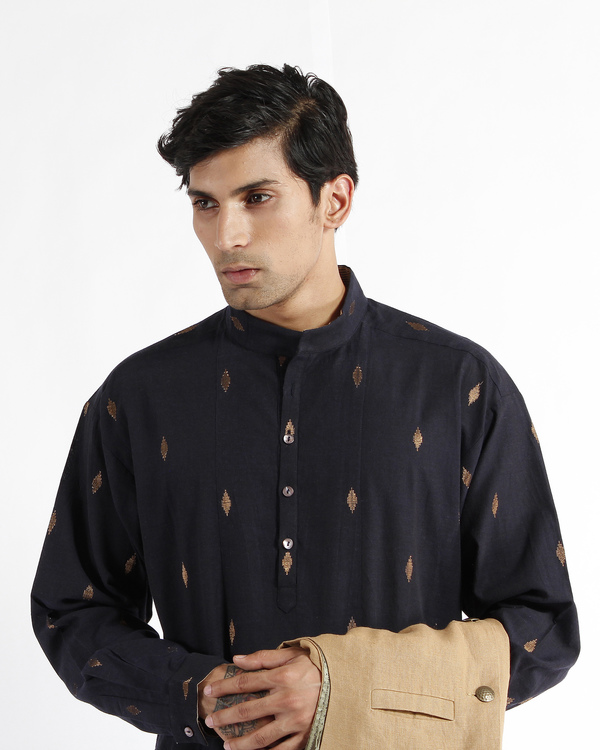 Navy handwoven cotton drop shoulder kurta 3