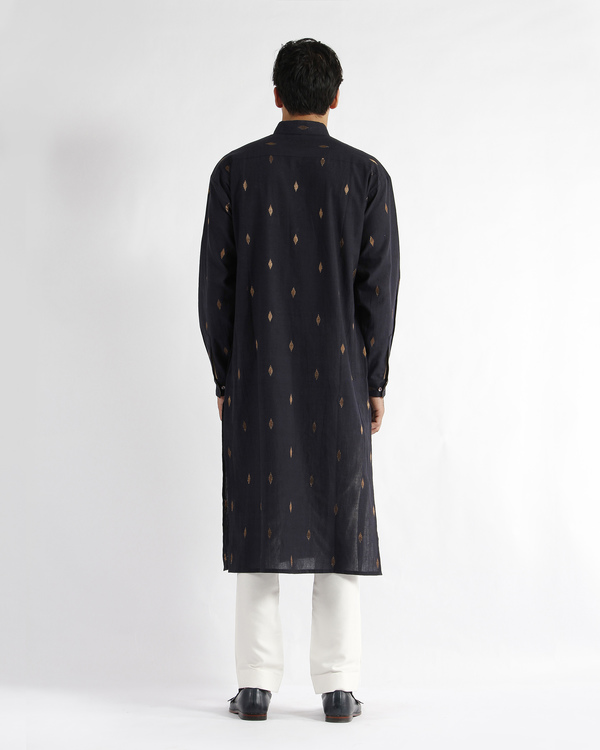 Navy handwoven cotton drop shoulder kurta 2