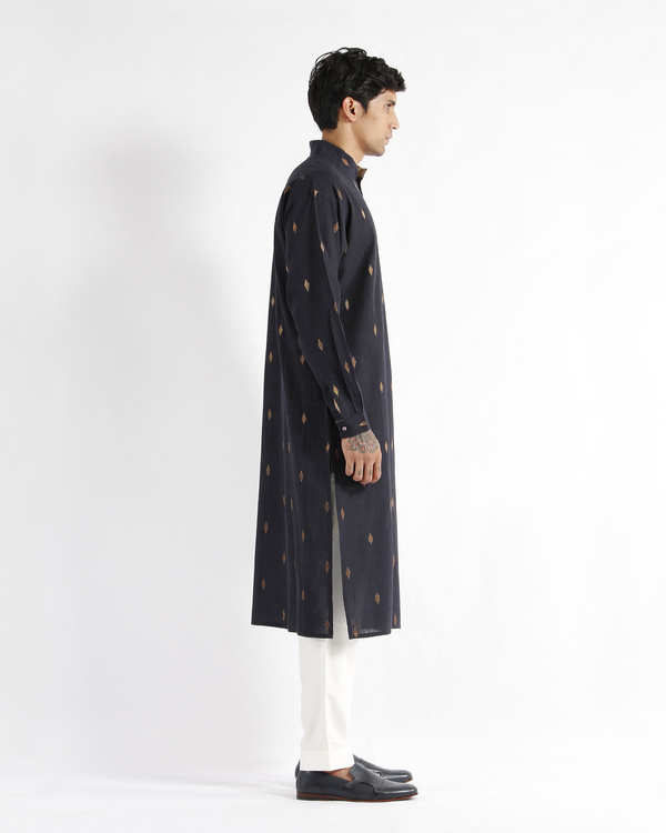 Navy handwoven cotton drop shoulder kurta 1