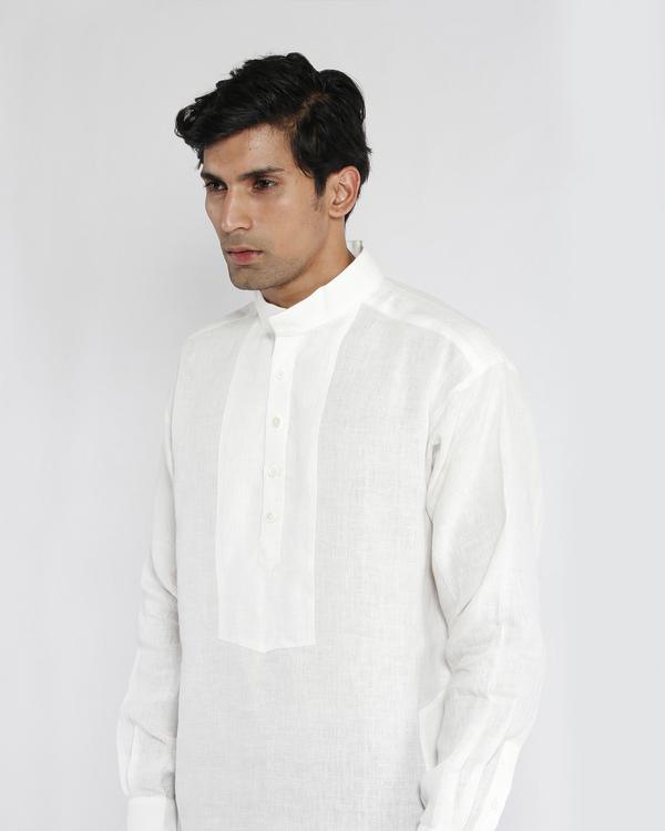 White linen drop shoulder kurta 3