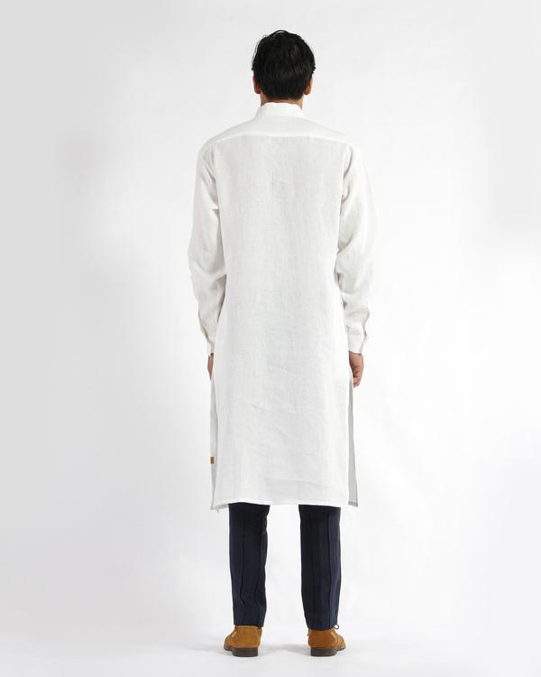 White linen drop shoulder kurta 2