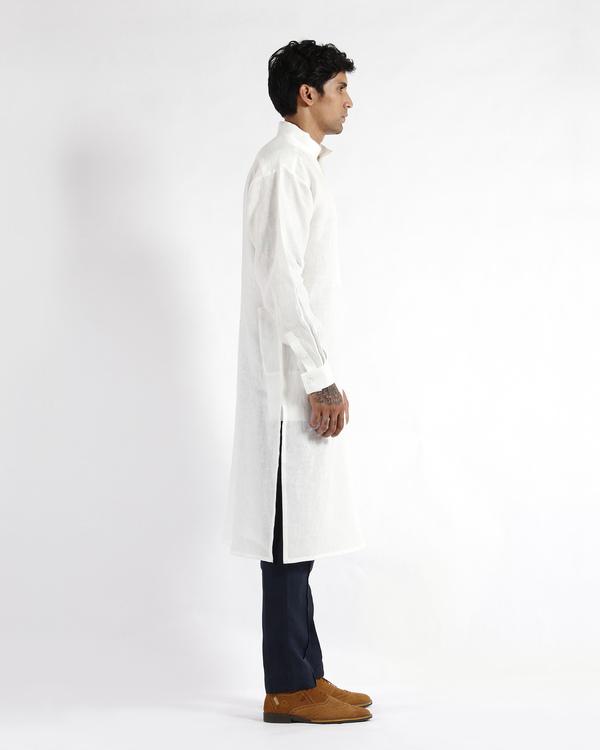 White linen drop shoulder kurta 1