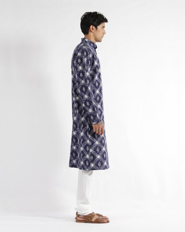 Blue handloom ikat cotton long kurta 1