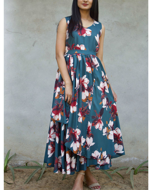 Deep Turquoise Floral Dress 1