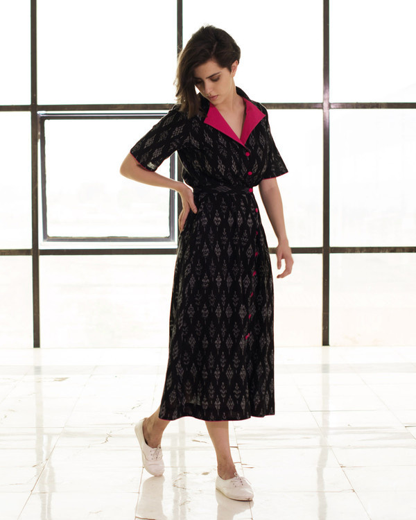 Black vintage buttoned jacket dress 1