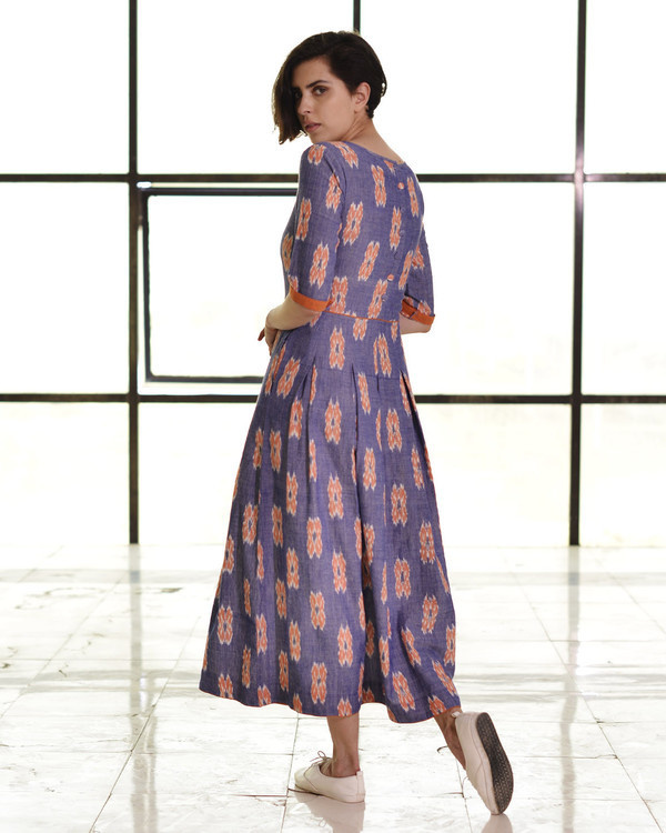 Indigo and tangerine box pleat maxi 1