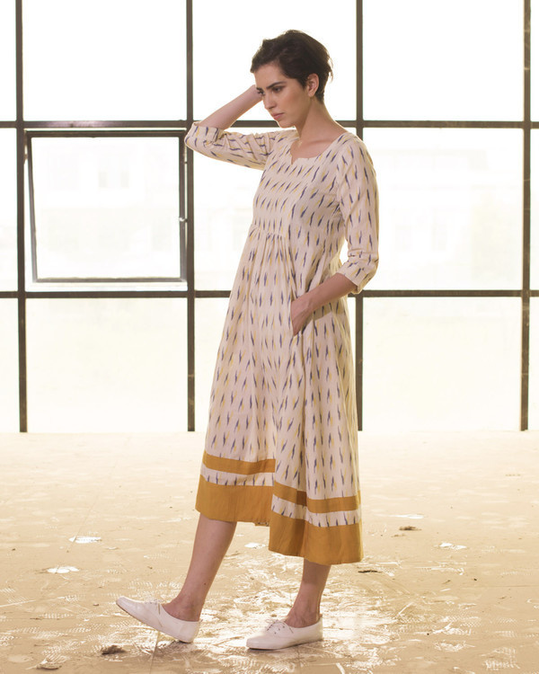 Ivory and mustard ikat frock 1