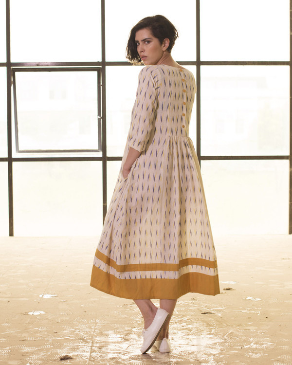 Ivory and mustard ikat frock 2