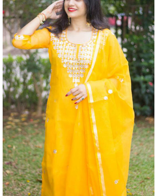 Yellow doriya gota suit set 1