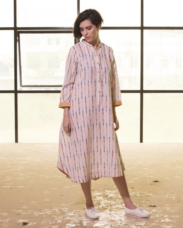 Ivory ikat boho swing dress 1