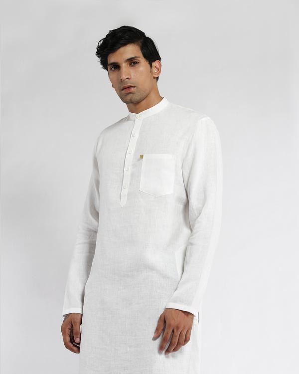 White linen slim collar long kurta 3