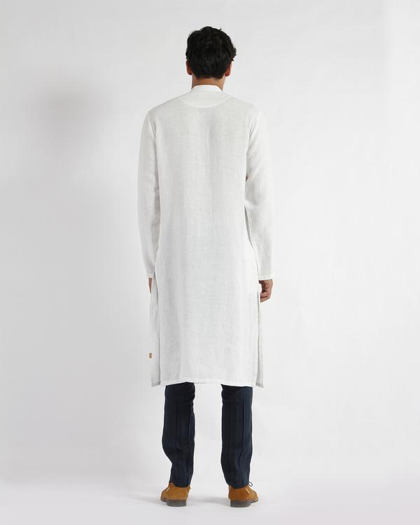 White linen slim collar long kurta 2