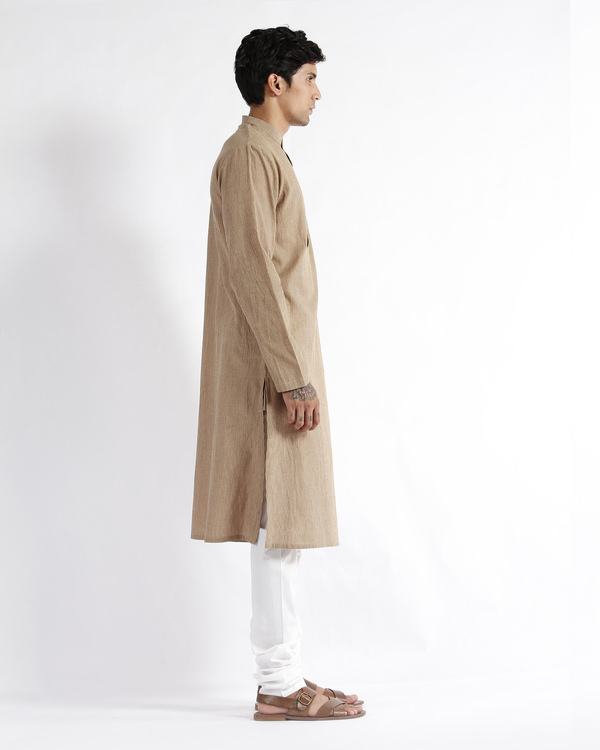 Beige stripe cotton long kurta 3
