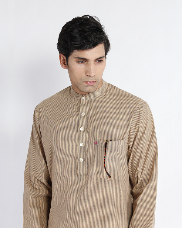 Beige stripe cotton long kurta 1
