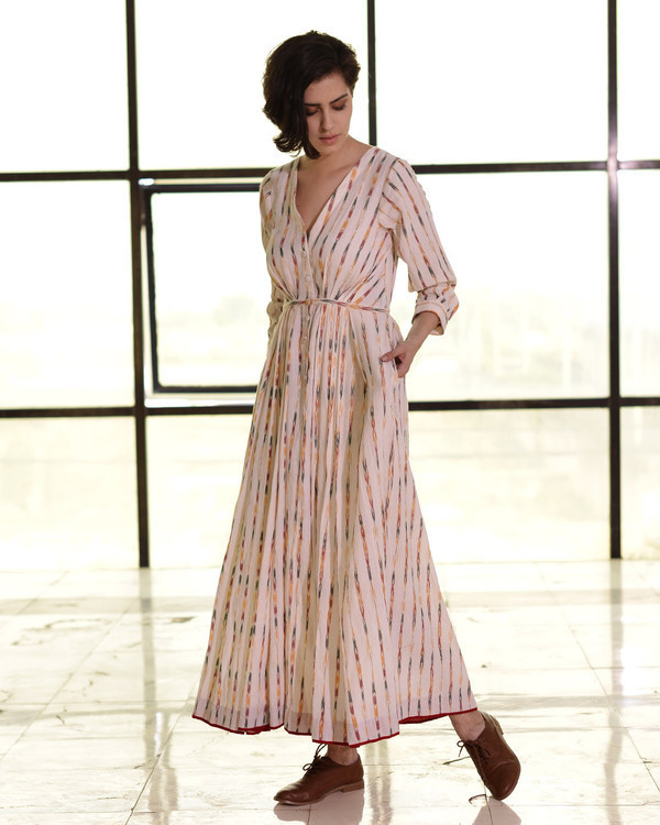 Ivory pleated ikat gown 1