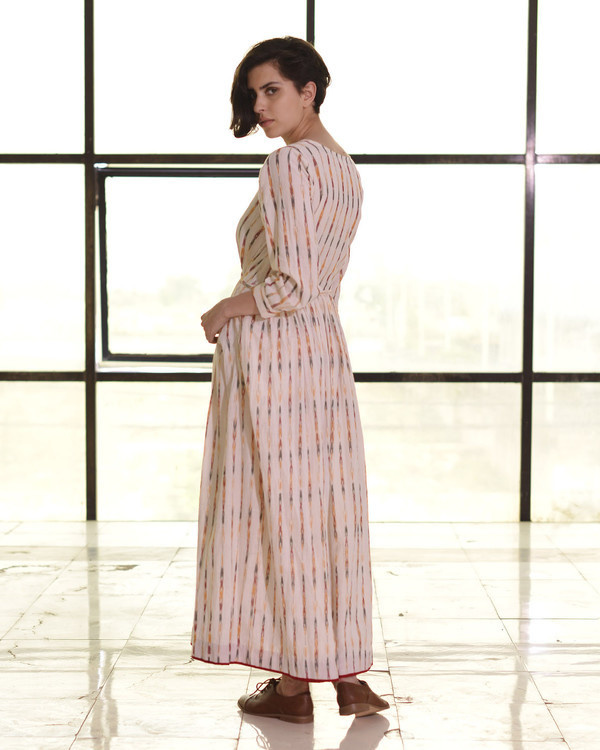 Ivory pleated ikat gown 2