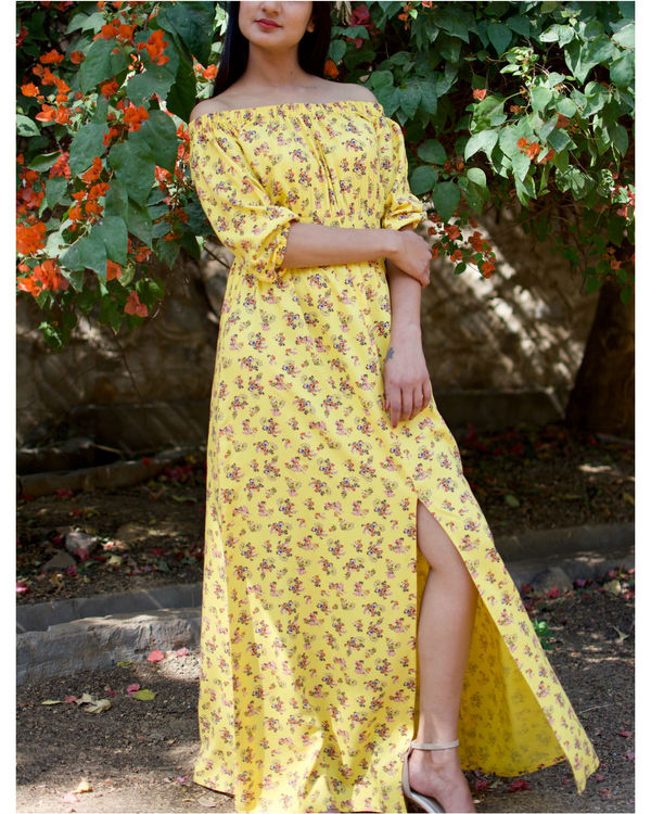 Cotton Rayon Off Shoulder Floral Maxi 1
