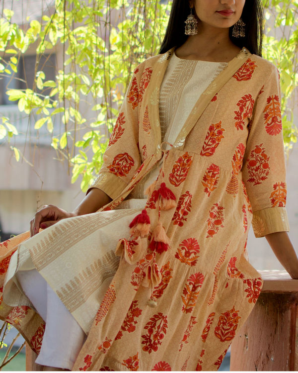 White And Gold Kurti With Floral Cape 1