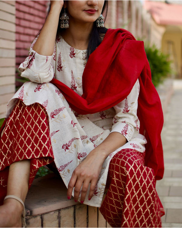 Red Block Printed Kurta Palazzo Set 1