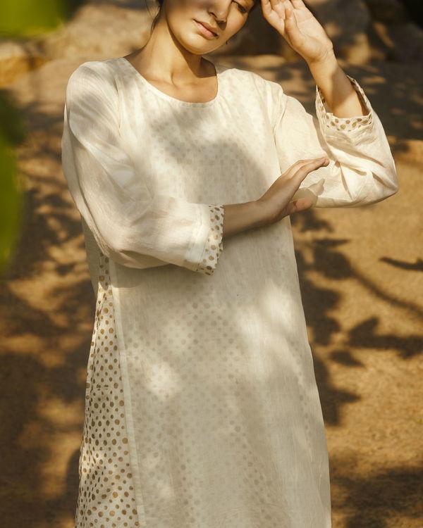 Ivory side slit polka tunic 1