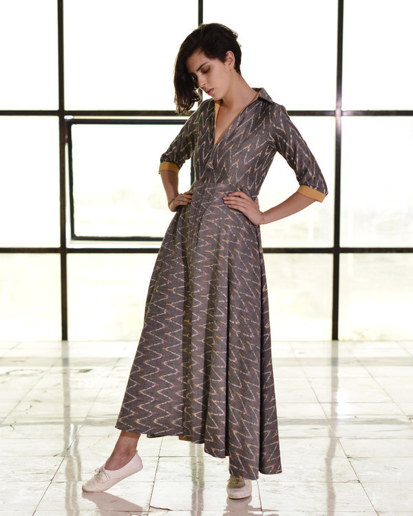 Steel grey ikat fit and flare gown 1