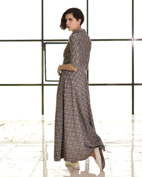 Steel grey ikat fit and flare gown 2