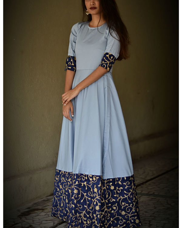 Grey border dress with dupatta 1