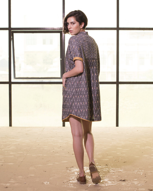 Steel grey tapered hemline shirt dress 2