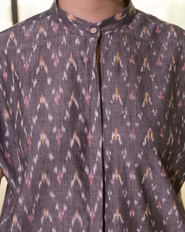 Steel grey tapered hemline shirt dress 3