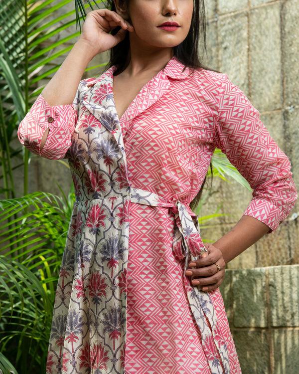 Chanderi mix tie up dress 1