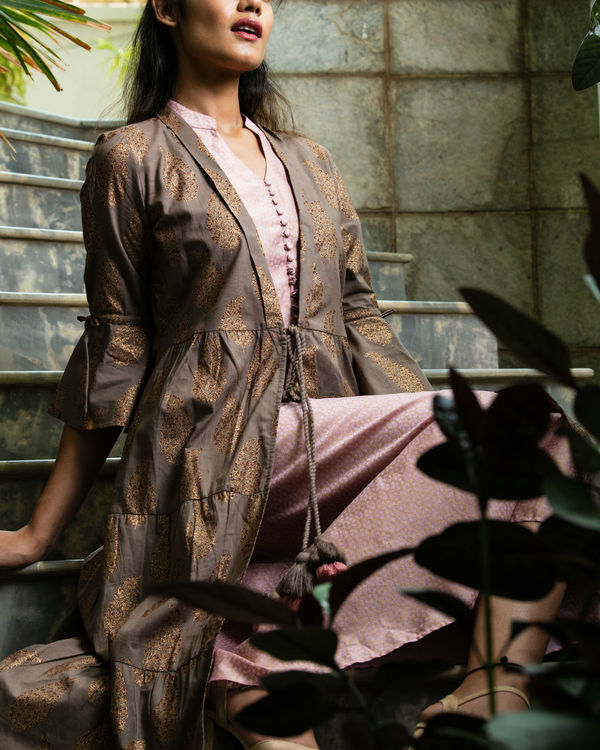 Chanderi printed kurta with jacket 1