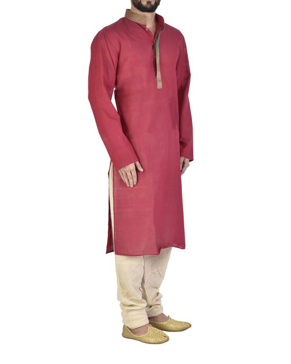 Rasperry Cotton kurta 1