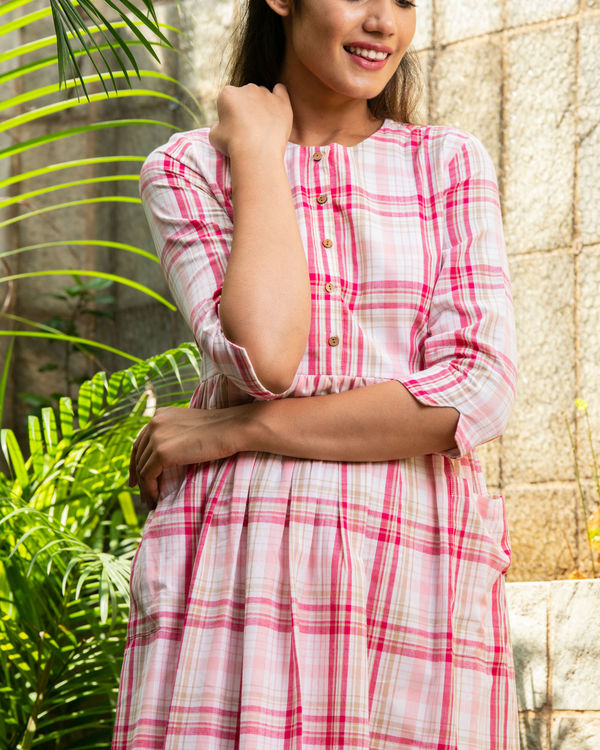 Pink chequered cotton dress 1