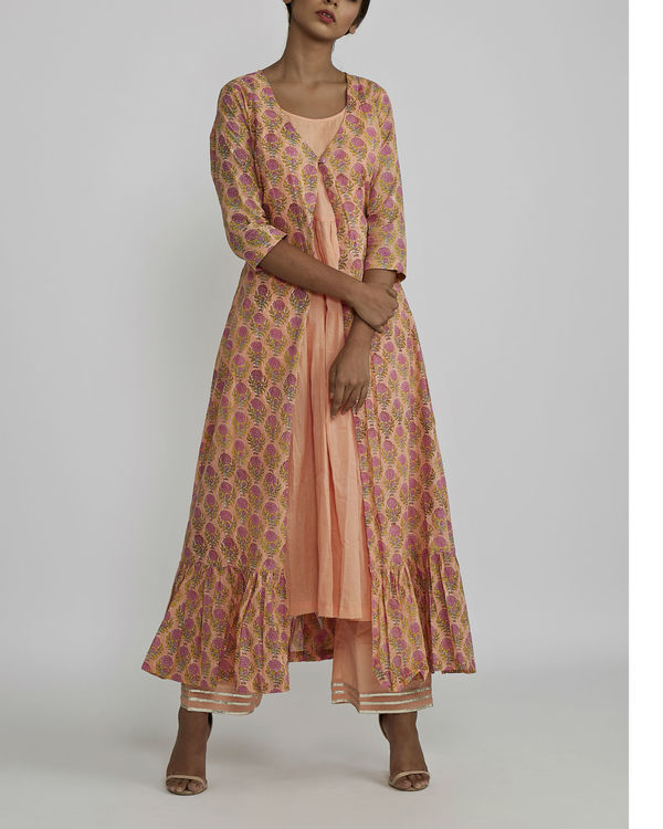 Peach gathered kurta with peach rose block printed cover up 2