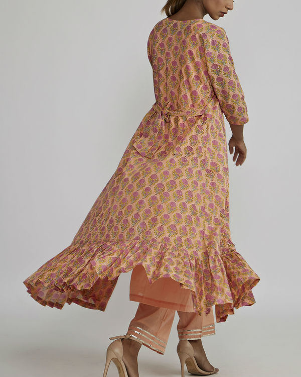 Peach gathered kurta with peach rose block printed cover up 1