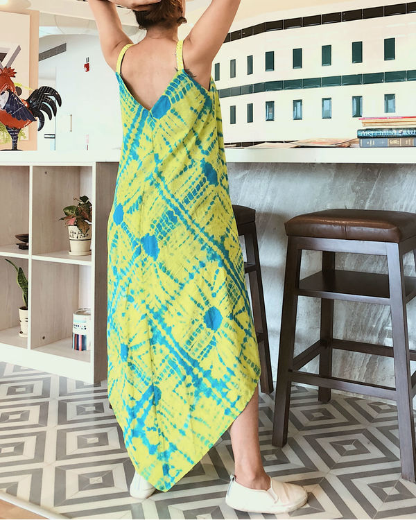 Lime green and turquoise spaghetti dress 1