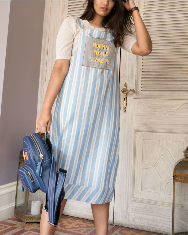 Blue and white dungaree dress 2