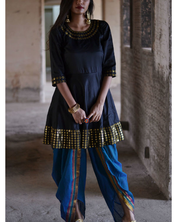 Black and blue dhoti set 3