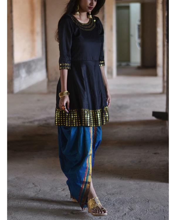 Black and blue dhoti set 2