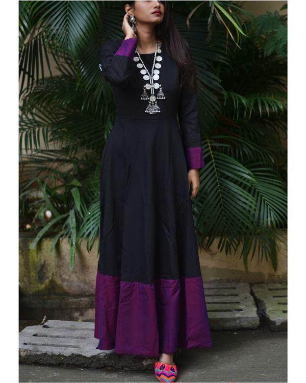 Black purple border dress 2