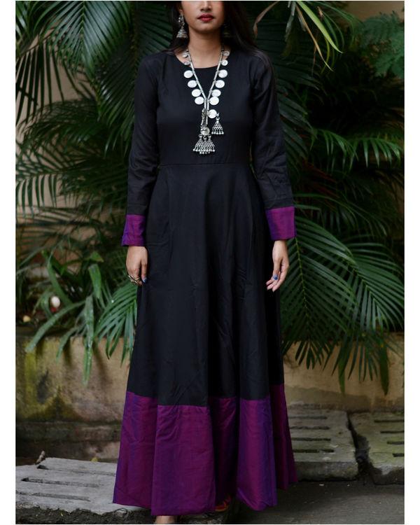 Black purple border dress 1