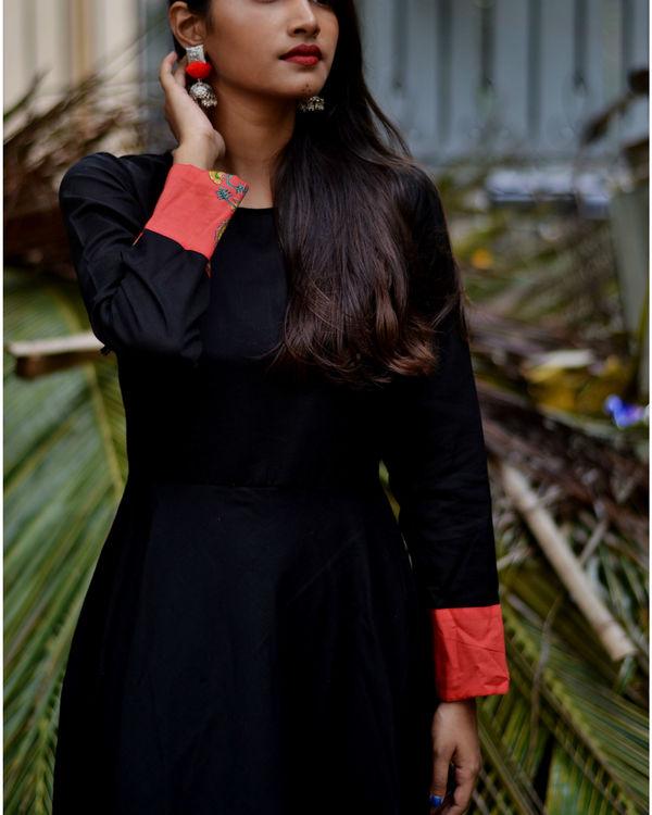 Black printed border dress 2
